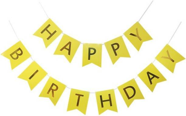 Rhythm Happy Birthday Card YELLOW Board Banner for Birthday Celebration of Kids and Adults FOR PARTY DECORATION BIRTHDAY DECORATION Banner