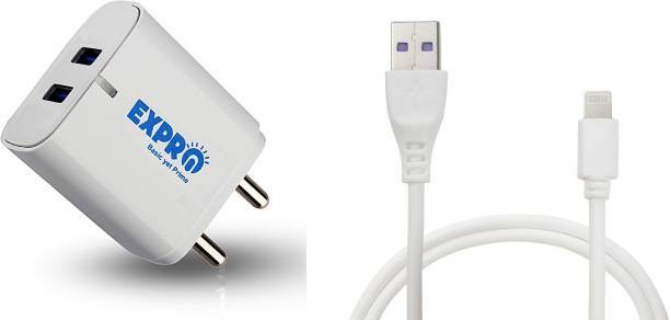 Expro 2.4A Wall Charger With I-phone Cable Single USB Port Travel Fast Charging Power Adapter Compatible with Mobile Phones, Tablets & Other Devices 2.4 Aport Mobile Charger with Detachable Cable (White, Cable Included) (Black Adapter) (Made in INDIA , With Warranty) 5 W 2.4 A Multiport Mobile Charger with Detachable Cable