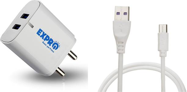 Expro 2.4A Wall Charger With Type-c Cable Single USB Port Travel Fast Charging Power Adapter Compatible with Mobile Phones, Tablets & Other Devices 2.4 Aport Mobile Charger with Detachable Cable (White, Cable Included) (Black Adapter) (Made in INDIA , With Warranty) 5 W 2.4 A Multiport Mobile Charger with Detachable Cable
