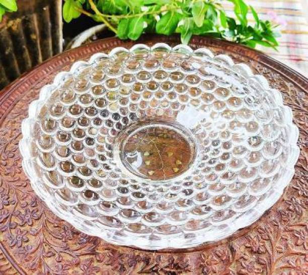 KitchExpo Glass Fruit Bowl Plate for Dining Table Crystal Decoration Serving Dry Fruits Bowl Set Flower Shaped Gifting   Dinnerware & Servings Quarter Plate (Quarter Plate) Quarter Plate