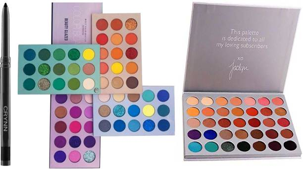 Crynn Smudge Proof Essential Makeup HD16 Rosedale Beauty Kajal & Beauty Glazed 60 Colors Matte & Shimmer High Pigmented Color Board Blendable Eyeshadow & The Jaclyn Hill Blushed Eyeshadow Palette