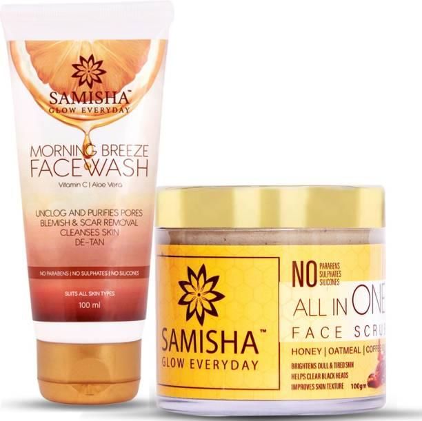 Samisha Organic Morning Breeze Vitamin C Facewash and Face Scrub Combo Pack, 200ml