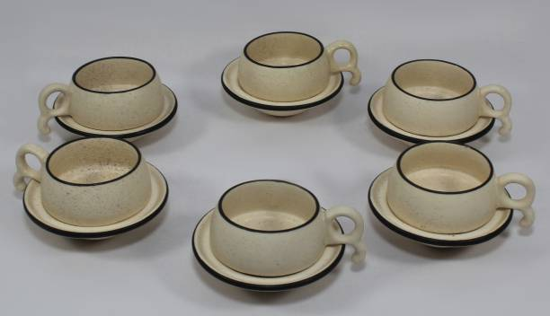 Designo Prints Pack of 12 Ceramic Marble Cup & Saucer (Set of 6)