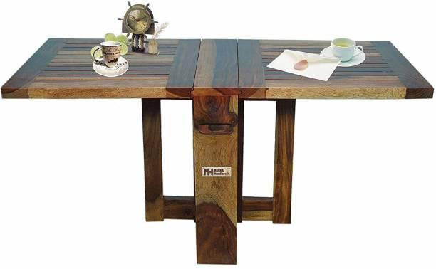 Meera Handicraft Folding space saving Sheesham Wood Solid Wood 4 Seater Dining Table
