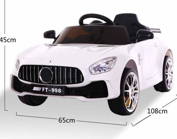 Miss & Chief Kids Ride on Car with 12V Battery, Music and Swing Option, White Car Battery Operated Ride On