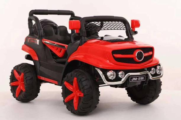 Miss & Chief Birade Kids Electric Ride on Car for Kids with 12V Rechargeable Battery, Bluetooth Remote Control, Spring Suspension and Working Lights (Metallic Red) Jeep Battery Operated Ride On