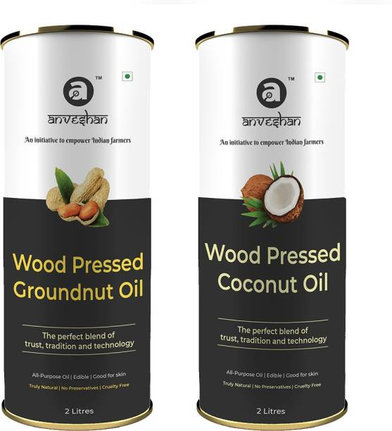 Anveshan Wood Pressed Coconut Oil and Groundnut Oil, 2L Tin Can Each (Pure Kolhu/ Kachi Ghani/ Wooden Chekku Tel) Combo