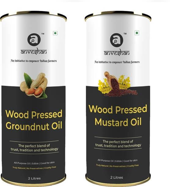 Anveshan Wood Pressed Black Mustard Oil and Groundnut Oil, 2L Tin Can Each (Pure Kolhu/ Kachi Ghani/ Wooden Chekku Tel) Combo
