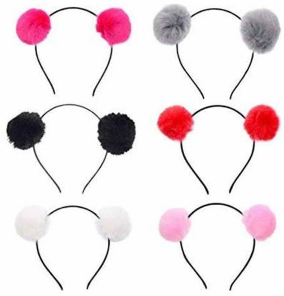 SANI Pretty Pom Pom Hairbands, headband for girls and baby girls (Multicolor) Pack of 4 Hair Band