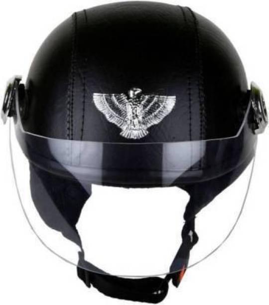 RDX BLACK LEATHER CAP Motorbike Helmet