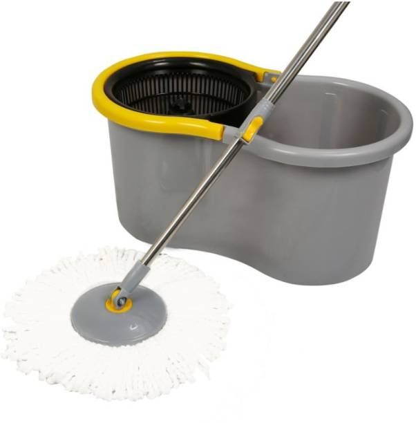 Esquire Grey Plastic 360° Spin Mop Set with Easy Wheels Mop