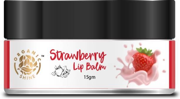 Organic Shine Strawberry Lip Balm with Coconut Oil, Cocoa Butter & Grape Seed (15gm Strawberry