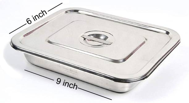 """AMAZECARE Instrument Tray 9""""inch x 6"""" inch With Lid Reusable Medical Tray"""