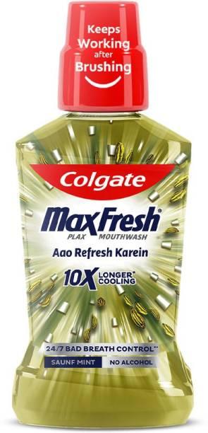 Colgate Maxfresh Plax Antibacterial Mouthwash - Saunf