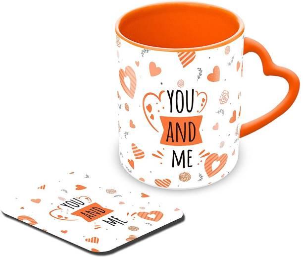 "Tuelip Printed Design ""You and Me"" with Coaster for Tea & Coffee Ceramic Coffee Mug"