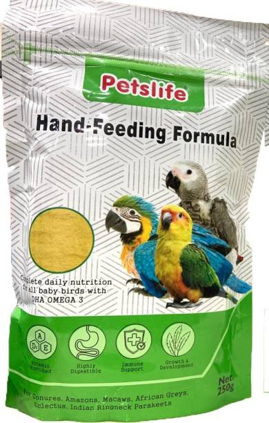 Petslife hand feeding formula daily nutrition for all baby birds 250gm Vegetable 0.25 kg Dry New Born, Young Bird Food