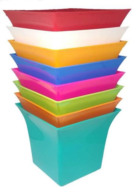 GTB Uber Pot for Indoor - Bedroom, Living Room, Office Desk. Outdoor - Plastic Flower Pots, Planter for Plants, Home Garden, Office Plant Pot, Balcony Flowering Pot SET OF 8 PC Plant Container Set