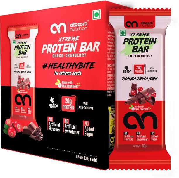 Abbzorb Nutrition Xtreme Protein Bar 20g Protein Choco Cranberry 6 x 60g Nutrition Bars