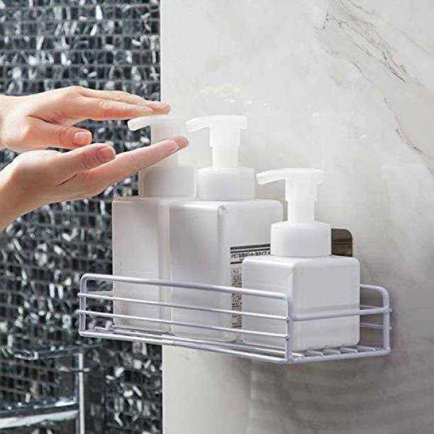 UZANIYA Punch-Free Multipurpose Kitchen Bathroom Storage Shelf Wall Holder Storage Rack Bathroom Rack Organizer Storage Box with Strong Magic Sticker Shower Caddies Kitchen Rack Storage Rack-WHITE Steel Wall Shelf