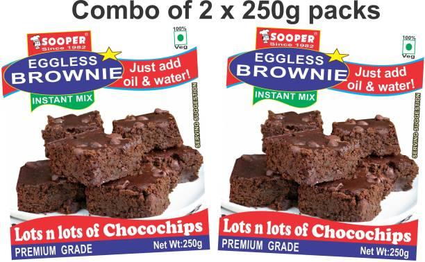 SOOPER EGGLESS CHOCO CHIP BROWNIE PREMIX (PACK OF 2) 500 g