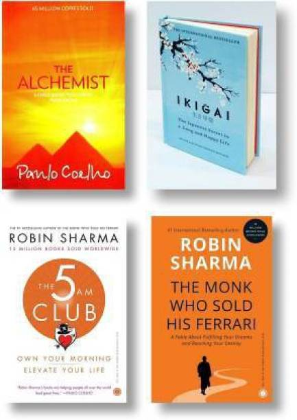 Combo Book Fiction : The Monk Who Sold His Ferrari + IKIGAI + The 5 AM Club + The Alchemist | Set Of Four Books