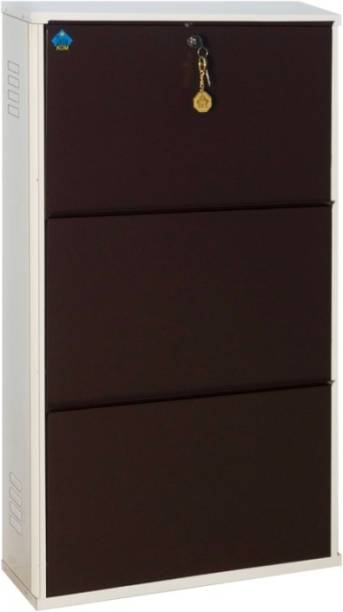 Delite Kom 20 Inches wide Latitude Three Door Powder Coated Wall Mounted Metallic Ivory Coffee Metal, Metal, Metal Shoe Rack
