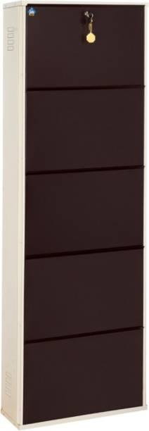 Delite Kom 20 Inches wide Latitude Five Door Powder Coated Wall Mounted Metallic Ivory Coffee Metal, Metal, Metal Shoe Rack