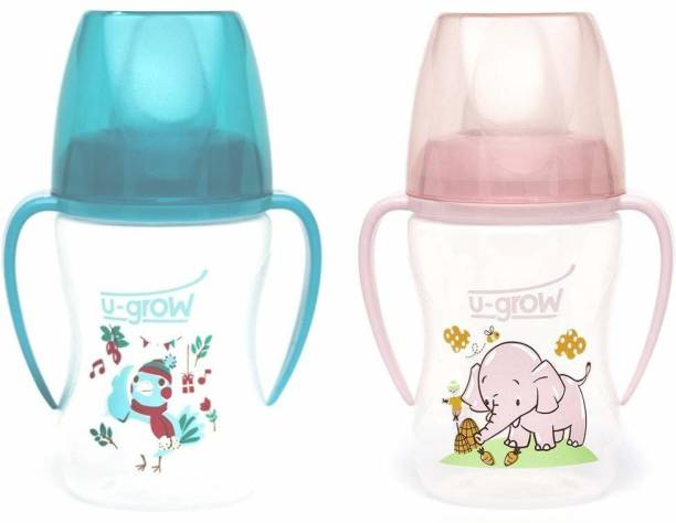 U-grow Baby Silicone Spout/Sipper (Blue & Pink) 250ml BPA Free (for 6+Months Baby)