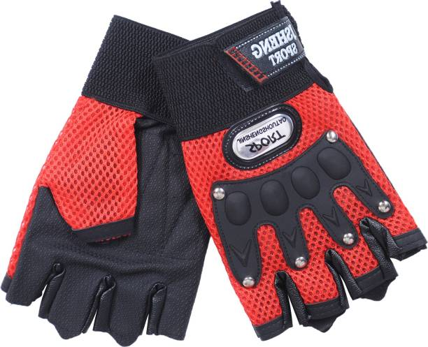 zaysoo Gloves Military Rubber Hard Knuckle Gloves Fingerless Cycling Gloves