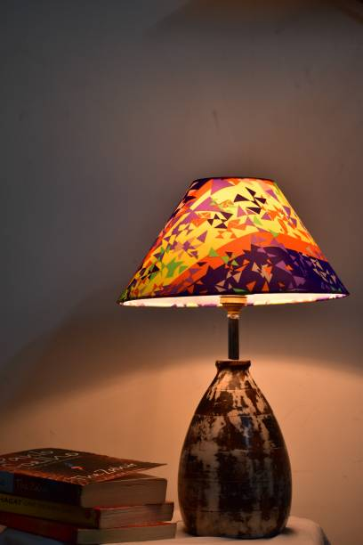 AAMCHI CREATIONS Woody Blocks Table lamp with 10 inch Yellow sadabhaar silk made Lamp Shade FOR LIVING ROOM AND BEDROOM Table Lamp Table Lamp