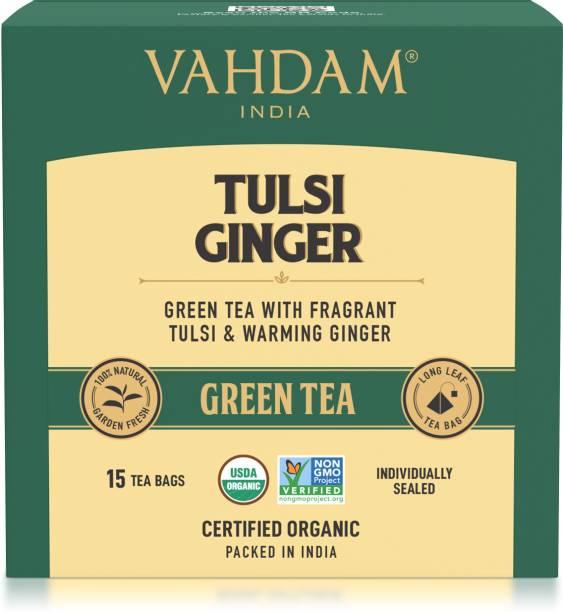 Vahdam Tulsi Ginger Green Tea Box