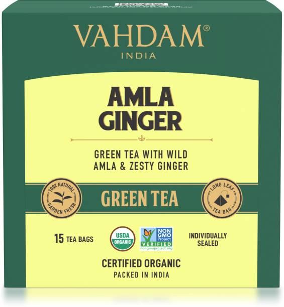 Vahdam Organic Amla Ginger Green Tea Box