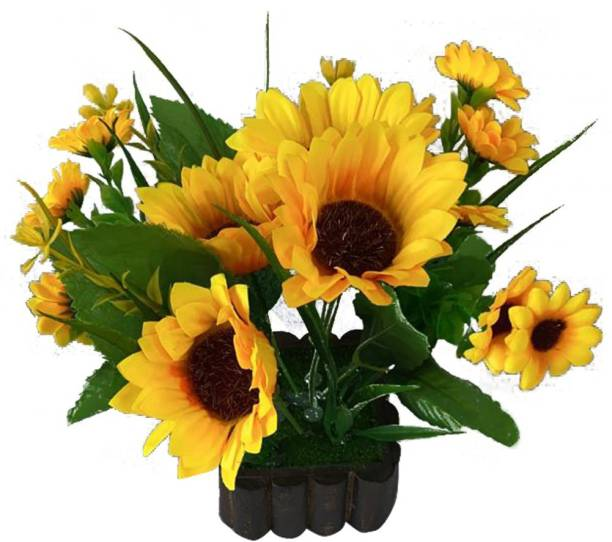 Ryme Yellow Artificial Sunflower With Pot for Home Office, Gift, Or Decoration Yellow Sunflower Artificial Flower  with Pot