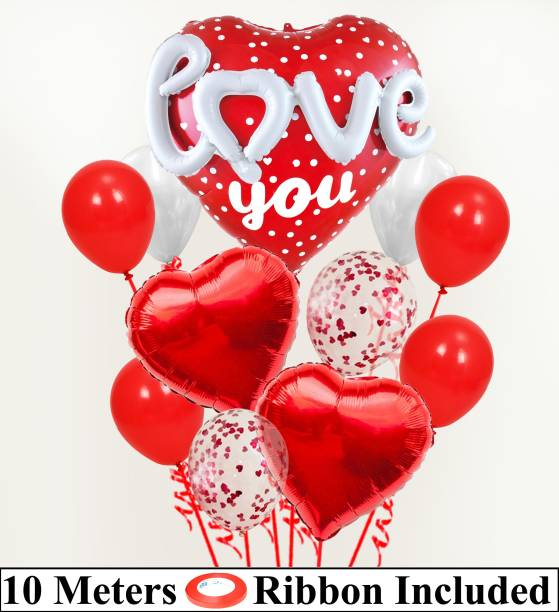 DECOR MY PARTY Printed 3D Love Heart Shape Foil Balloon Combo With Confetti , Metallic Balloons Bunch & Curling Ribbon For Valentines Day / Engagement / Wedding Anniversary Couple / Love Party Decorations / Valentines Day Decoration Items Balloon Bouquet