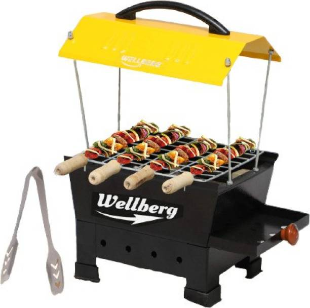 WELLBERG BBQ Portable & Picnic Iron Barbeque Grill With 6 Skewers (Wooden Handle), 1 Iron Grill Electric Grill
