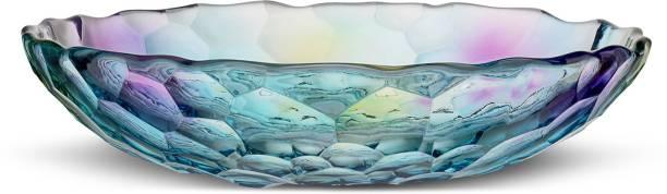 green kivvi Glass Decorative Fruit Bowl For Serving & Decor Glass Decorative Bowl