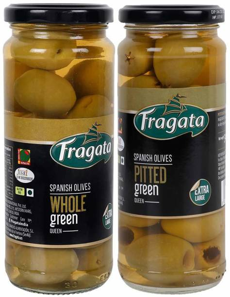 Fragata Pitted Green Olives (Queen) 340g & Plain Green Queen Olives Olives