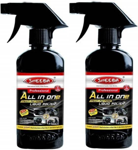 sheeba Liquid Car Polish for Exterior, Leather, Headlight, Chrome Accent, Tyres, Metal Parts, Dashboard