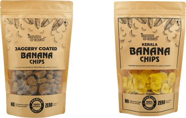 Flavours of calicut - Onam Special Combo - Banana Chips (250g) & Jaggery Coated Banana Chips (250g) - 500g Chips