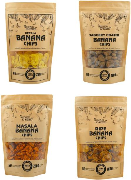 Flavours of calicut - Banana Chips Combo - Salted (250g), Sweet (250g), Masala (250g), Jaggery Coated (250g) - 1kg Chips