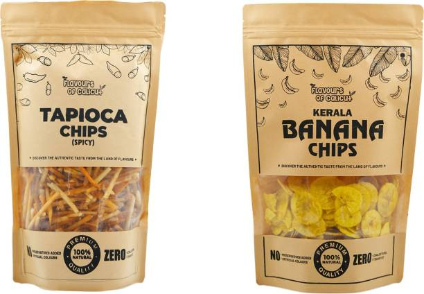 Flavours of calicut - Kerala Chips Combo - Banana Chips (500g) & Tapioca Chips (500g - 1kg Chips