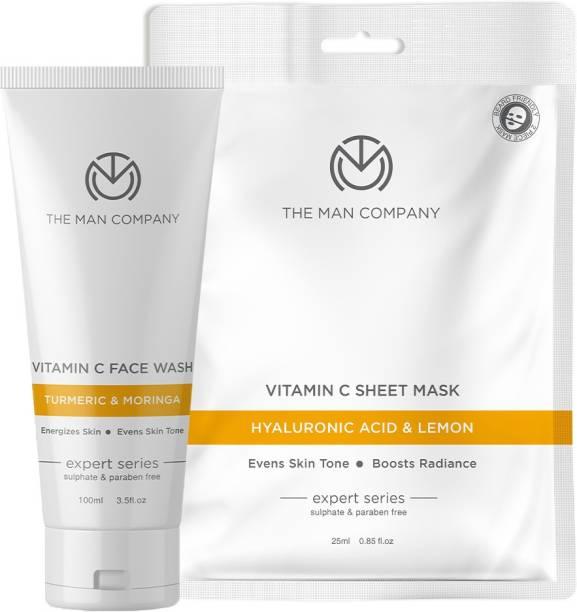 THE MAN COMPANY Vitamin C Instant glow kit | Vitamin C Face Wash 100ml, Vitamin C Sheet Mask 25ml