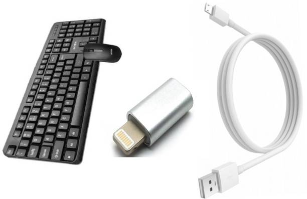 Intex USB 1 WIRED KEYBOARD SOFT KEYS STANDARD KEYBOARD / LONG KEY-PRESS LIFE EXCEPTIONALLY COMFORTABLE ABS PLASTIC LONG CABLE USB 1 WIRED MOUSE SMOOTH SCROLL SOFT TOUCH USB 1 MICRO MOBILE DATA CABLE HIGH SPEED AND POWER I PHONE CONNECTOR TUKDI COMBO SET BEST QUALITY NO-1 Combo Set