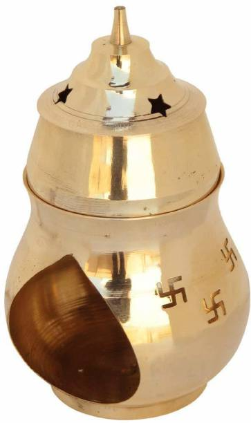 Collectible India Brass Swastik Diya Oil Lamp Diffuser Incense Kapoor Camphor Essential Fragrance Oil Burner(Size 6 x 2.5 Inches) Brass Table Diya