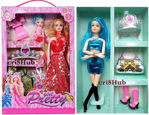 CriateHub Beautiful Doll Set Fashion Doll with Movable Joints and Other Ornaments (Both Dolls) & Fashionable Dress Cute Doll Set for Girls Kids Age 2+ {Pack of 2}
