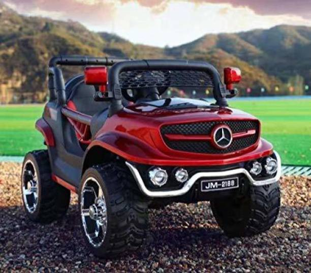 Miss & Chief Electric 12V Rechargeable Battery Operated Ride on for Jeep Kids with 2 Motors, Music, Lights and Remote Control, Metallic Red Jeep Battery Operated Ride On