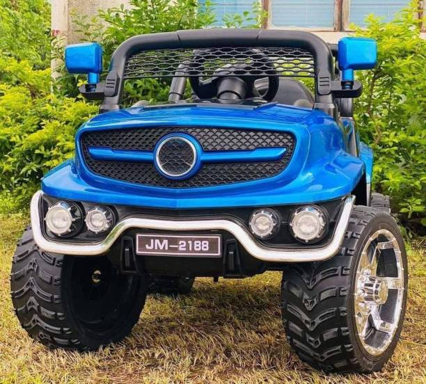 Miss & Chief Electric 12V Rechargeable Battery Operated Ride on for Jeep Kids with 2 Motors, Music, Lights and Remote Control, Metallic Blue Jeep Battery Operated Ride On