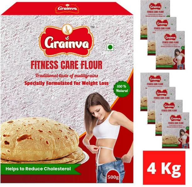 grainva Fitness Care Flour Slimming Health Care Body Fit Belly Fat Reduce Weight Loss Body Care Multigrain Atta Cholesterol Control 100% Natural Energy (4Kg) with Source of High Fiber High Protein Gluten Free Low Carb Low GI Weight Reduce Diabetes & Diet Diabetic Friendly Food Product for Men and Women