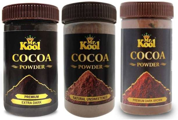 Mr.Kool Rich & 100% Natural Cocoa powder 100gm and Extra Dark Cocoa Milkshake Powder 100gm andDark Brown Premium Cocoa Powder 100 gm Cocoa Powder