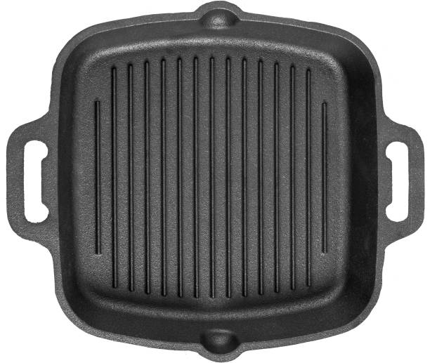Mr. Butler Cast Iron Grill Pan with Double Handle, Pre- Seasoned, 10.25 Inch, Black Grill Pan 26 cm diameter